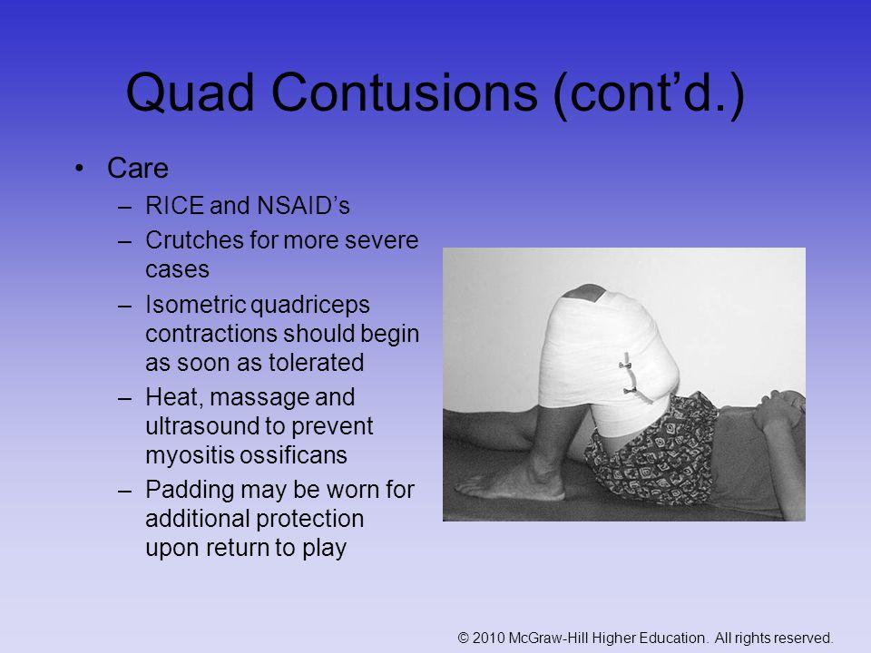 Quad Contusions (cont'd.)