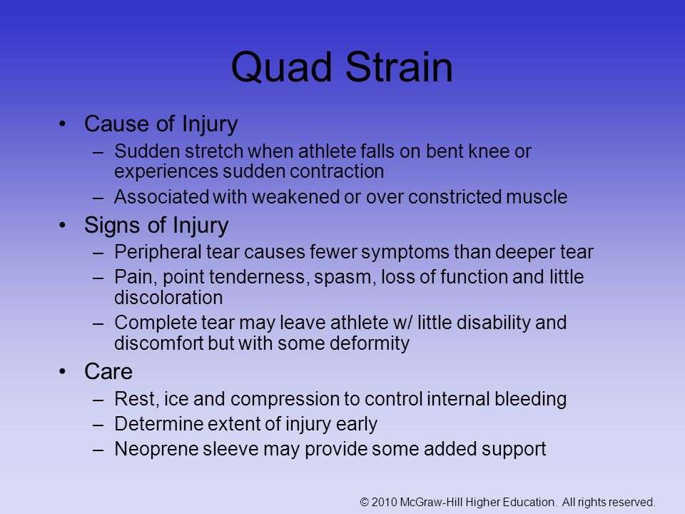 Quad Strain Cause of Injury Signs of Injury Care