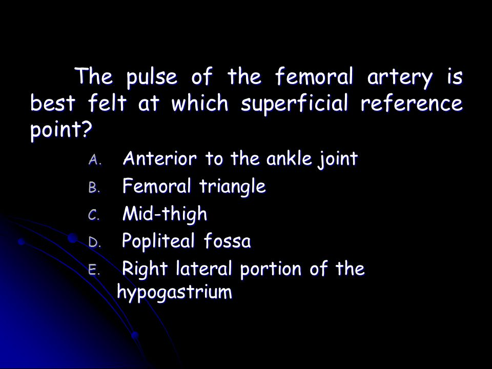 The pulse of the femoral artery is best felt at which superficial reference point
