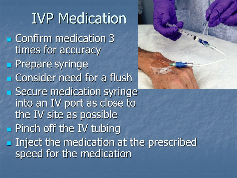 IVP Medication Confirm medication 3 times for accuracy Prepare syringe