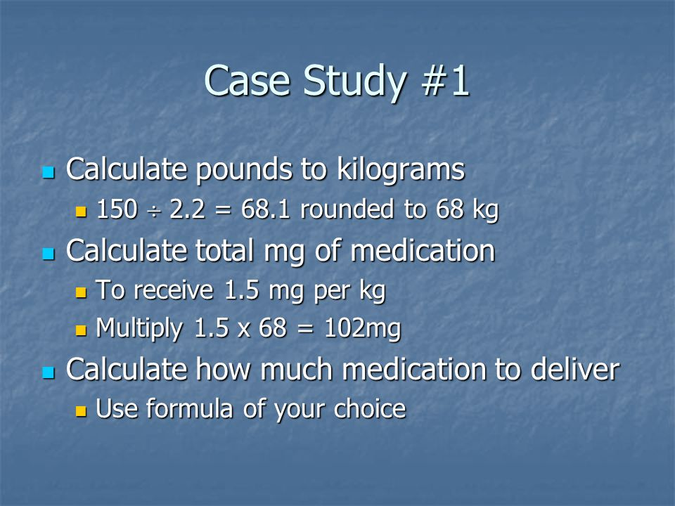 Case Study #1 Calculate pounds to kilograms