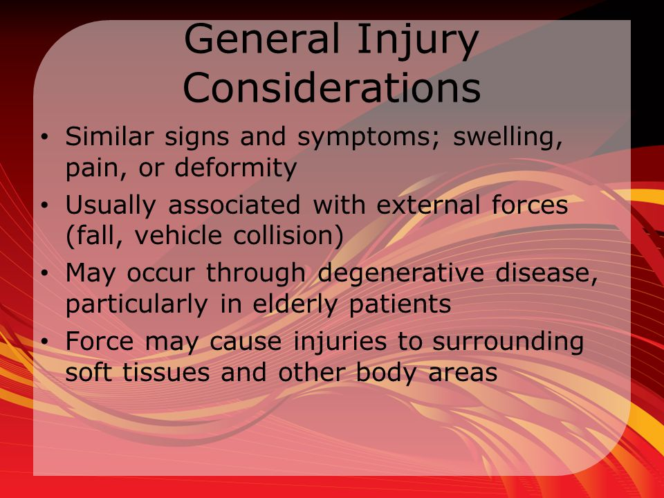 General Injury Considerations