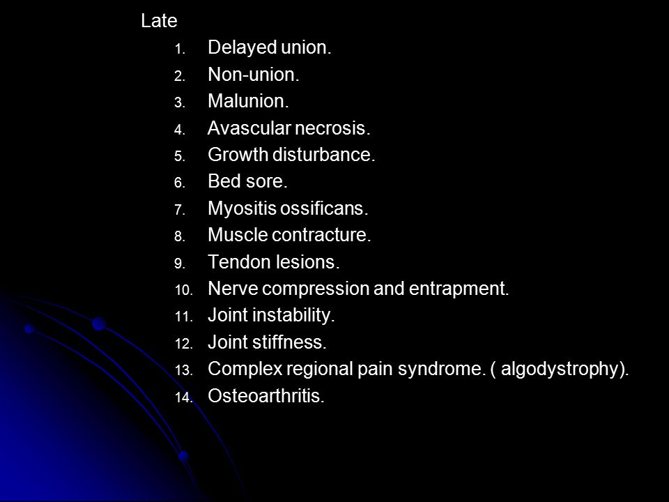 Late Delayed union. Non-union. Malunion. Avascular necrosis. Growth disturbance. Bed sore. Myositis ossificans.