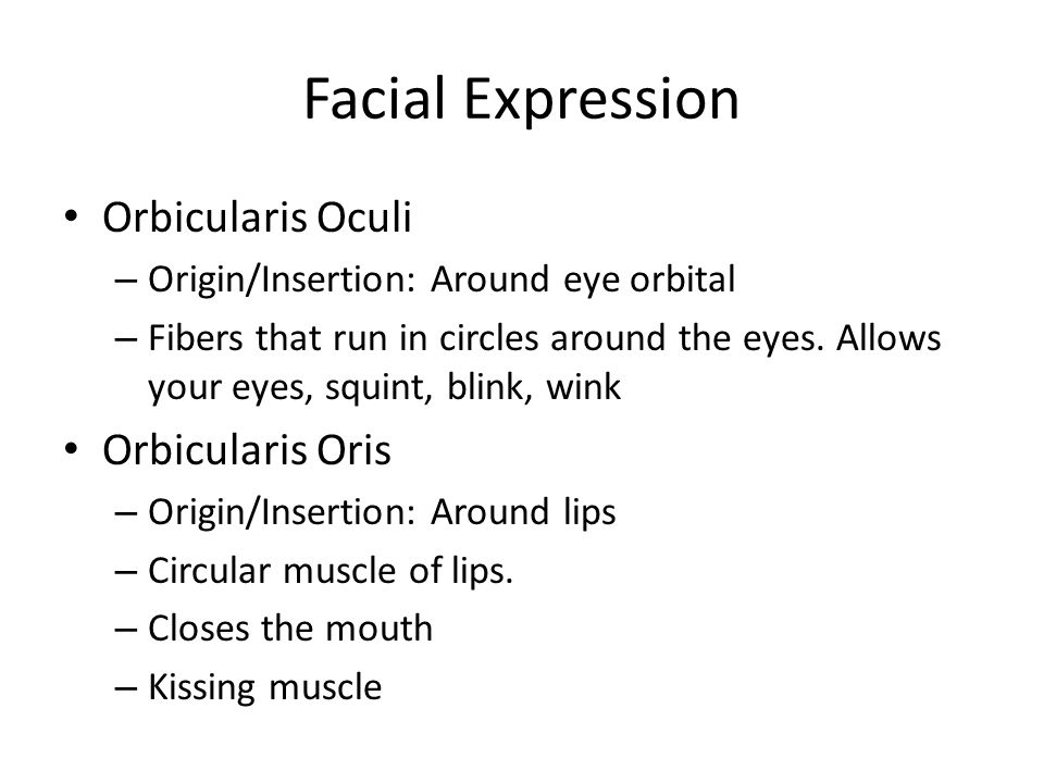 Facial Expression Orbicularis Oculi Orbicularis Oris