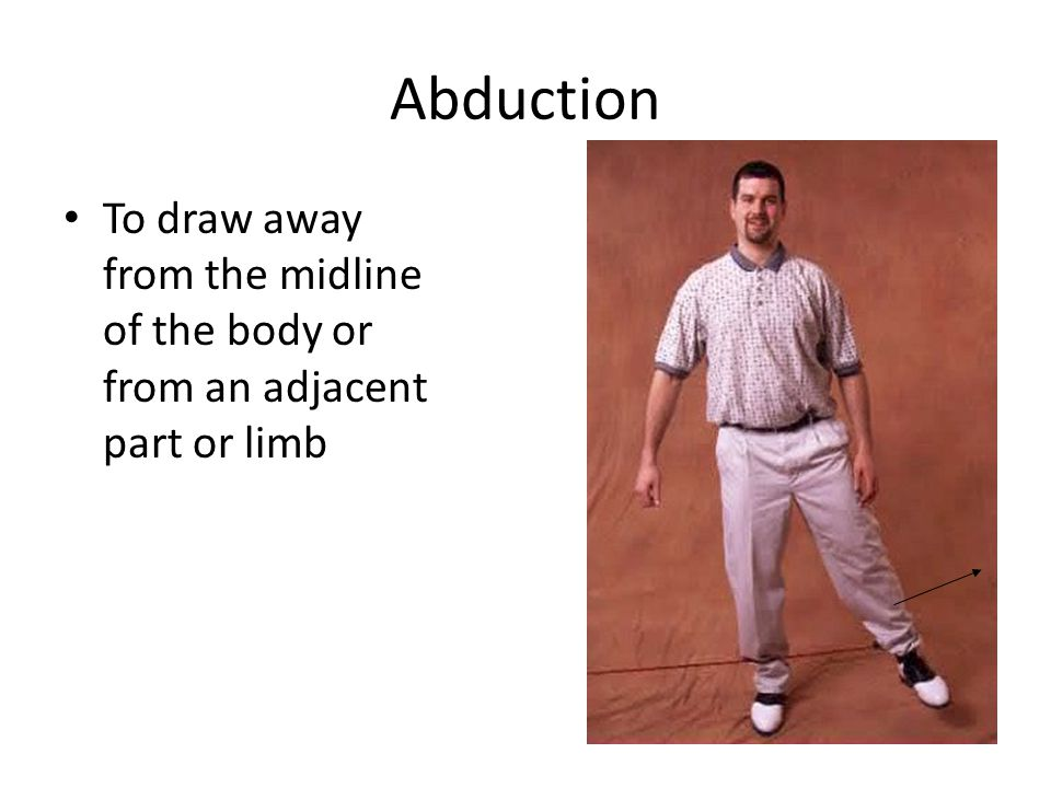 Abduction To draw away from the midline of the body or from an adjacent part or limb