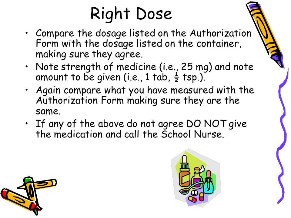 Right Dose Compare the dosage listed on the Authorization Form with the dosage listed on the container, making sure they agree.