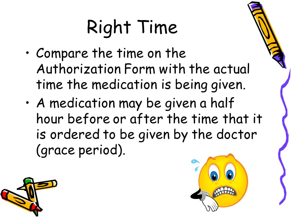 Right Time Compare the time on the Authorization Form with the actual time the medication is being given.