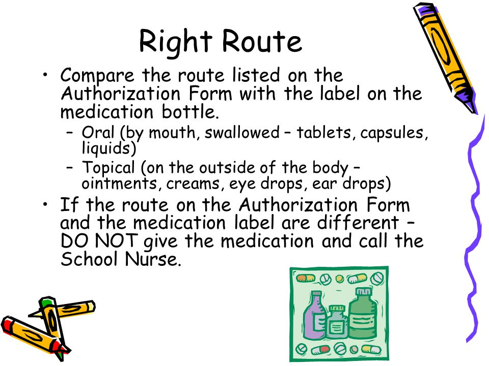 Right Route Compare the route listed on the Authorization Form with the label on the medication bottle.