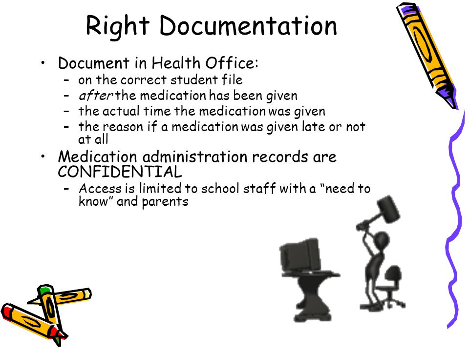 Right Documentation Document in Health Office: