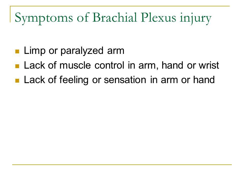 Symptoms of Brachial Plexus injury