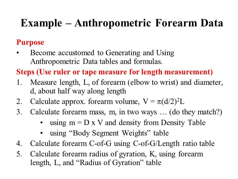 Example – Anthropometric Forearm Data
