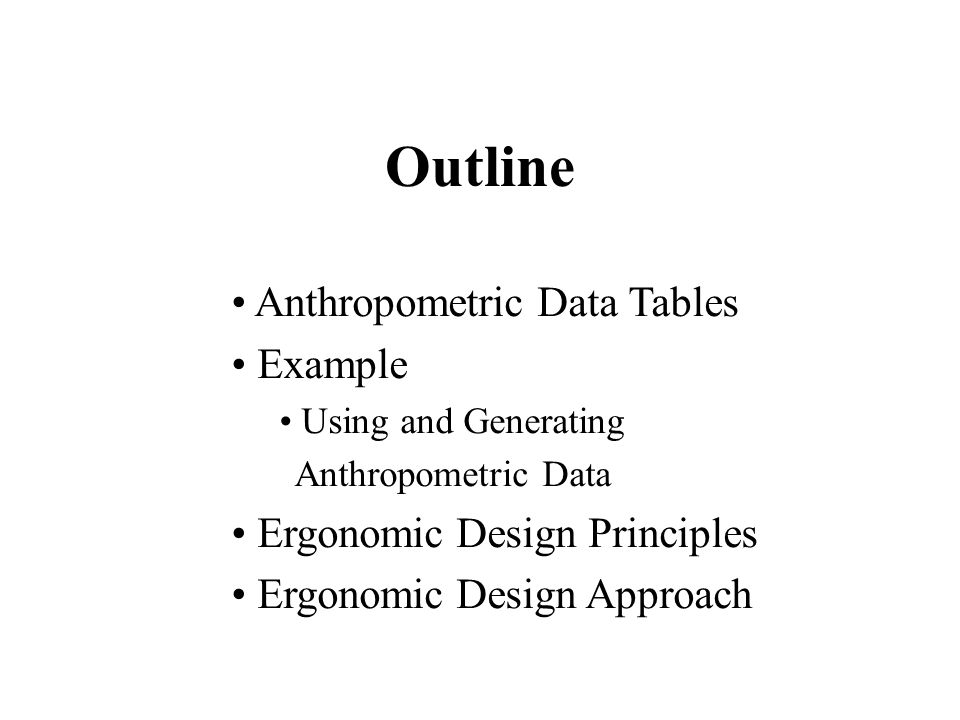 Outline Anthropometric Data Tables Example Ergonomic Design Principles