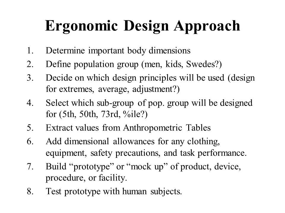 Ergonomic Design Approach