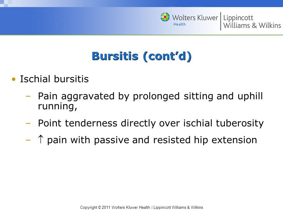 Bursitis (cont'd) Ischial bursitis
