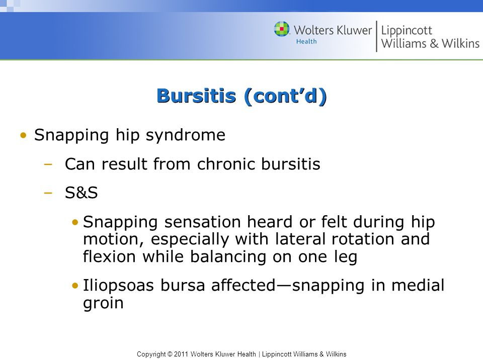 Bursitis (cont'd) Snapping hip syndrome