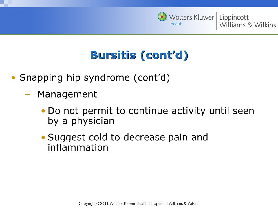 Bursitis (cont'd) Snapping hip syndrome (cont'd) Management