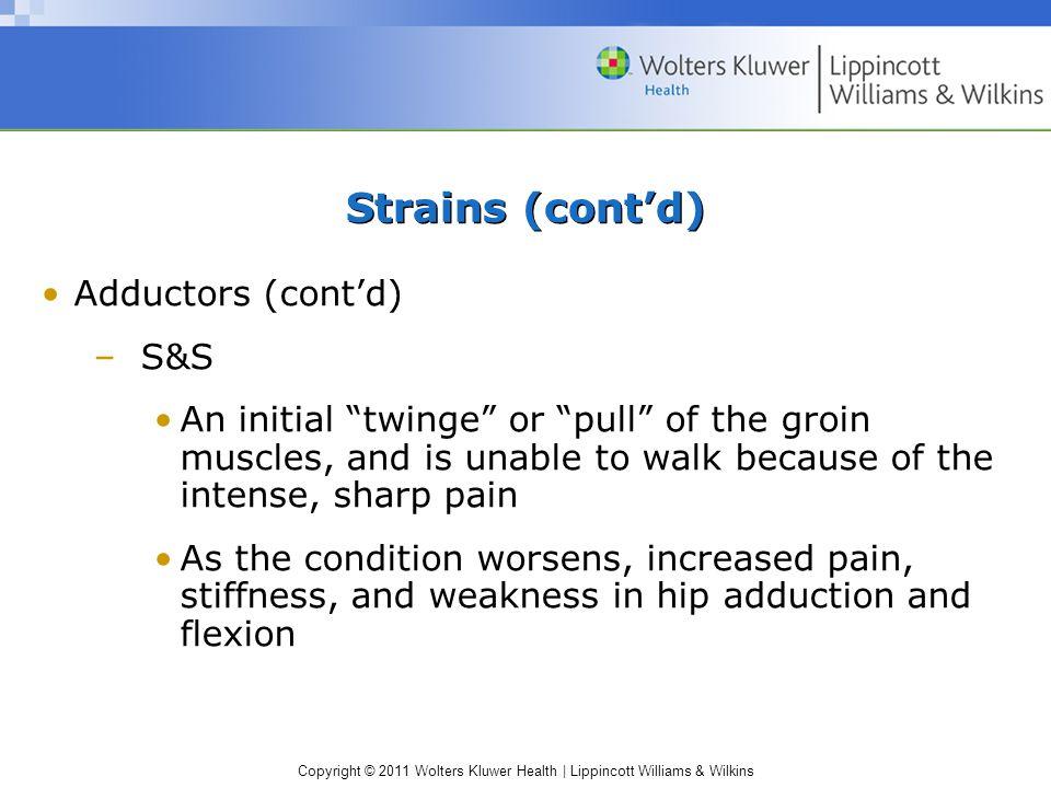 Strains (cont'd) Adductors (cont'd) S&S