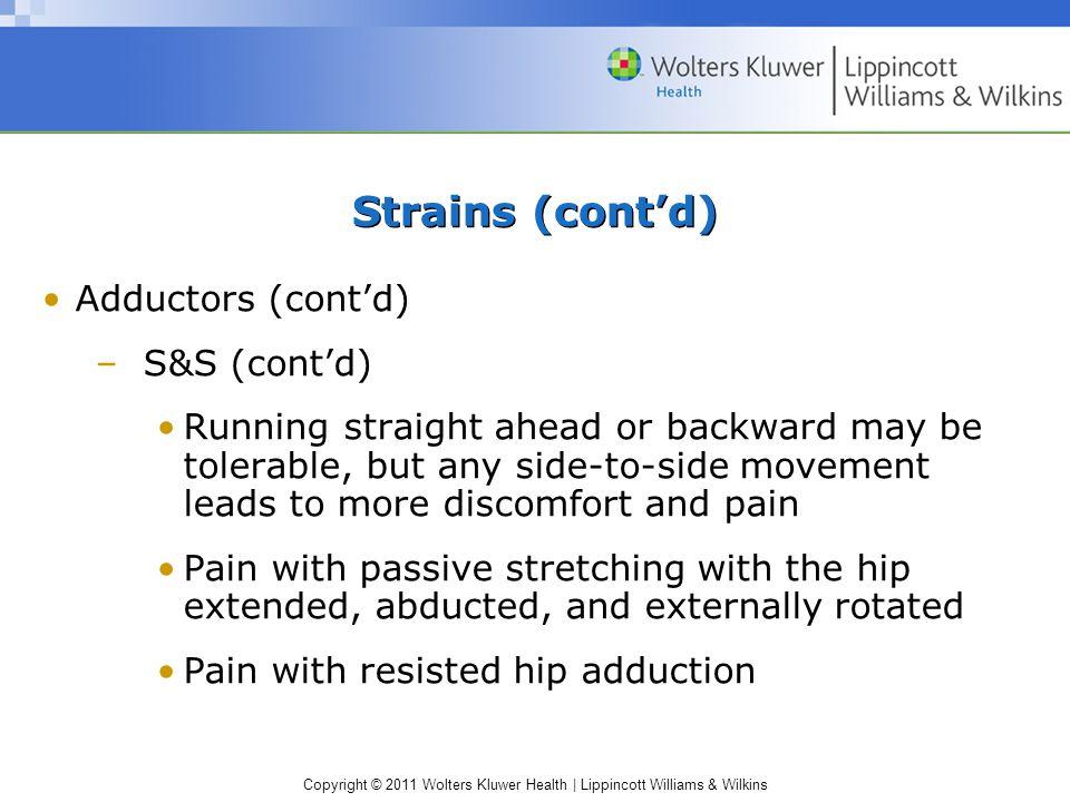 Strains (cont'd) Adductors (cont'd) S&S (cont'd)