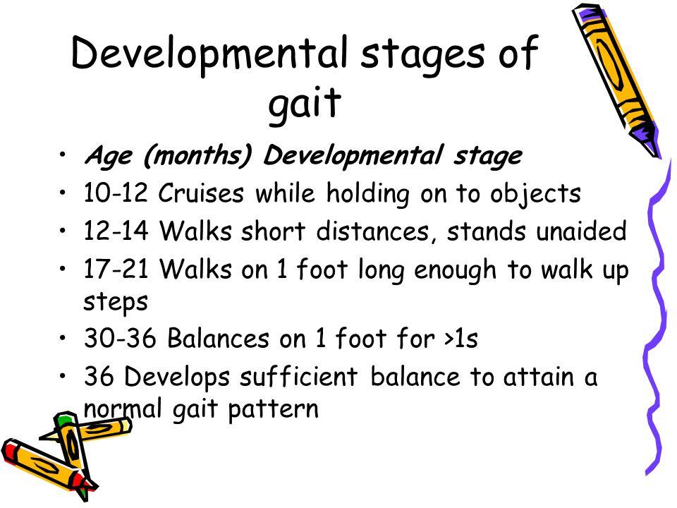Developmental stages of gait