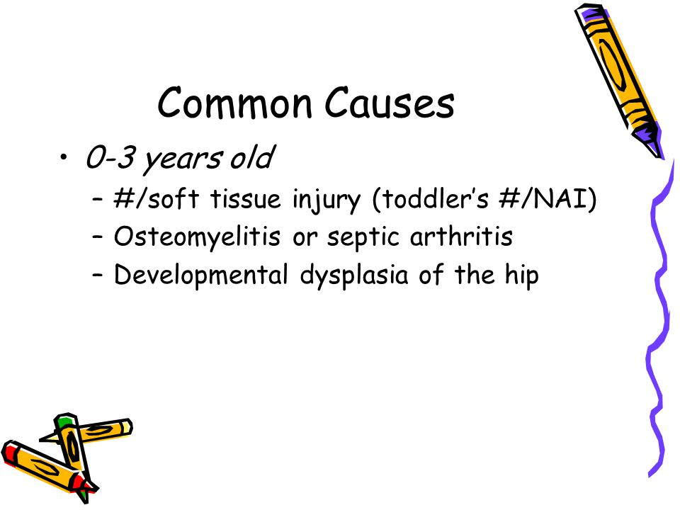 Common Causes 0-3 years old #/soft tissue injury (toddler's #/NAI)