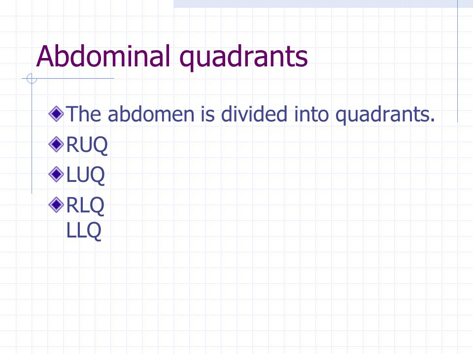Abdominal quadrants The abdomen is divided into quadrants. RUQ LUQ