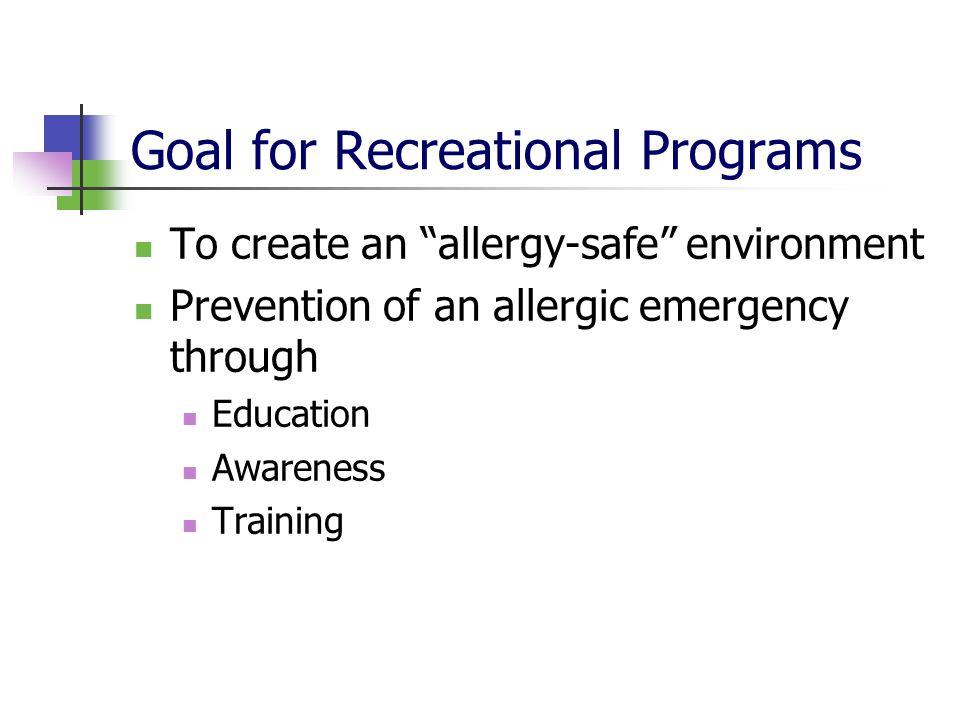 Goal for Recreational Programs