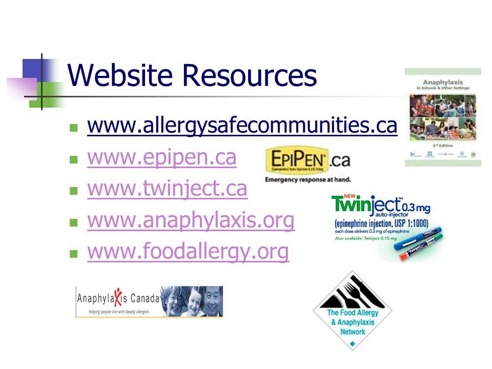 Website Resources www.allergysafecommunities.ca www.epipen.ca