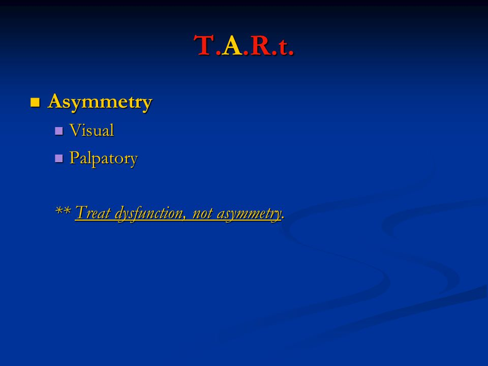 T.A.R.t. Asymmetry Visual Palpatory