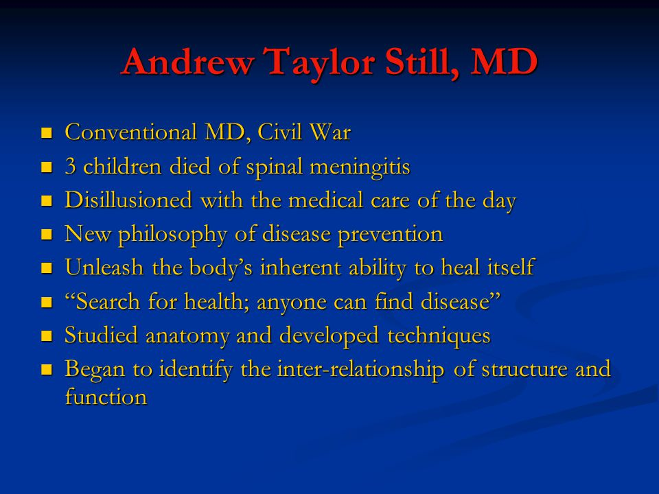 Andrew Taylor Still, MD Conventional MD, Civil War