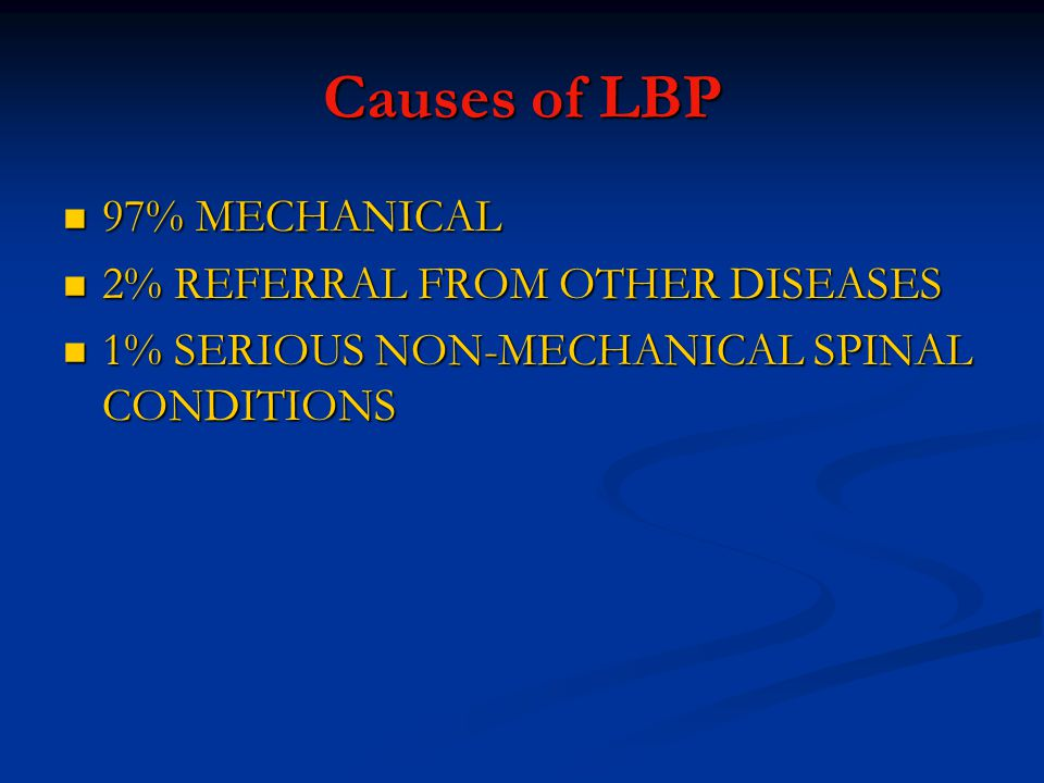Causes of LBP 97% MECHANICAL 2% REFERRAL FROM OTHER DISEASES