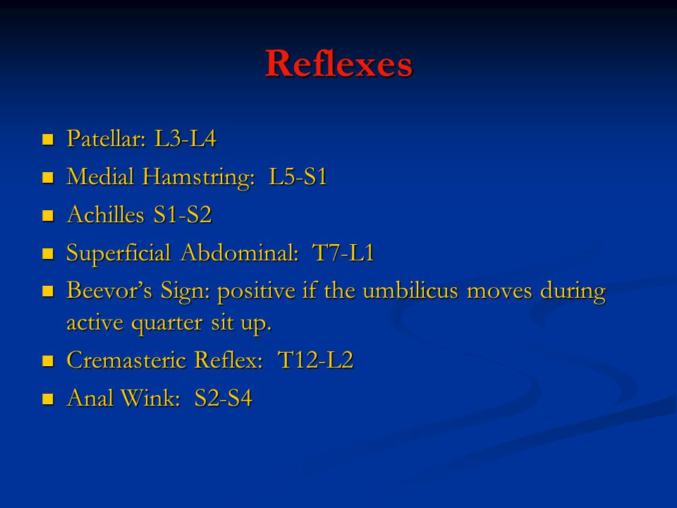 Reflexes Patellar: L3-L4 Medial Hamstring: L5-S1 Achilles S1-S2