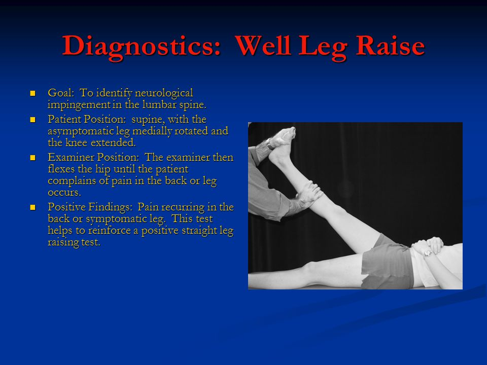 Diagnostics: Well Leg Raise