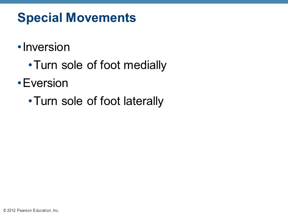 Special Movements Inversion Turn sole of foot medially Eversion