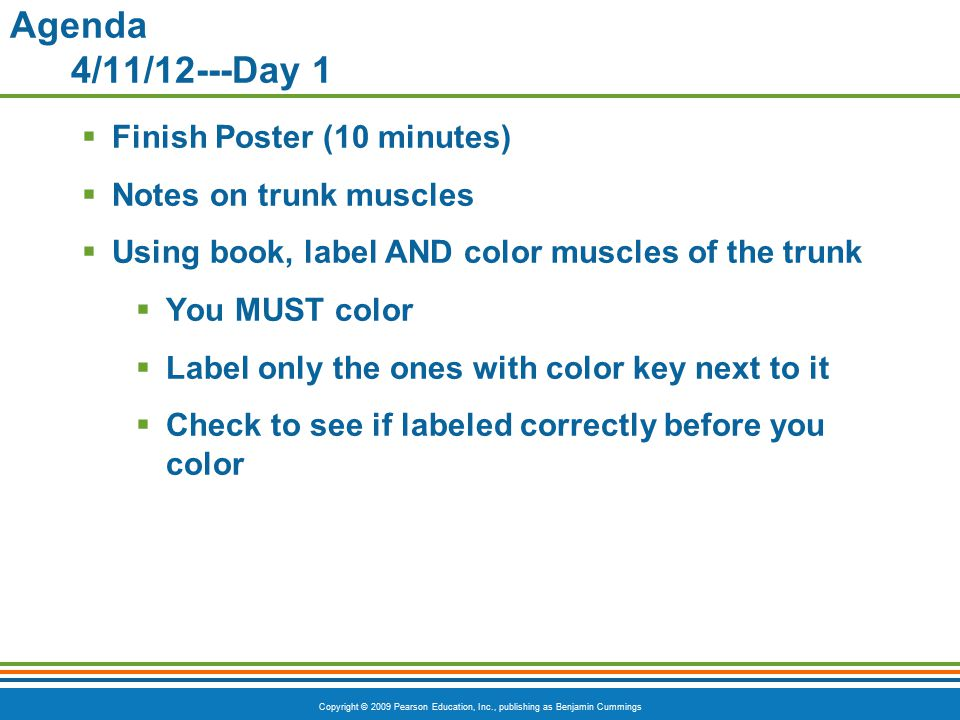 Agenda 4/11/12---Day 1 Finish Poster (10 minutes)