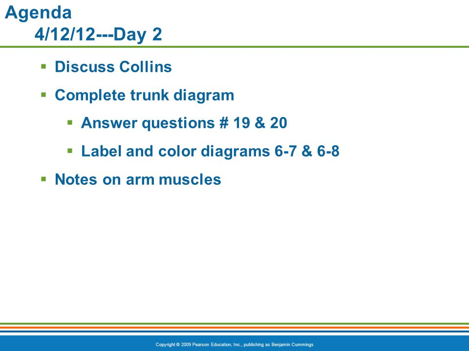 Agenda 4/12/12---Day 2 Discuss Collins Complete trunk diagram