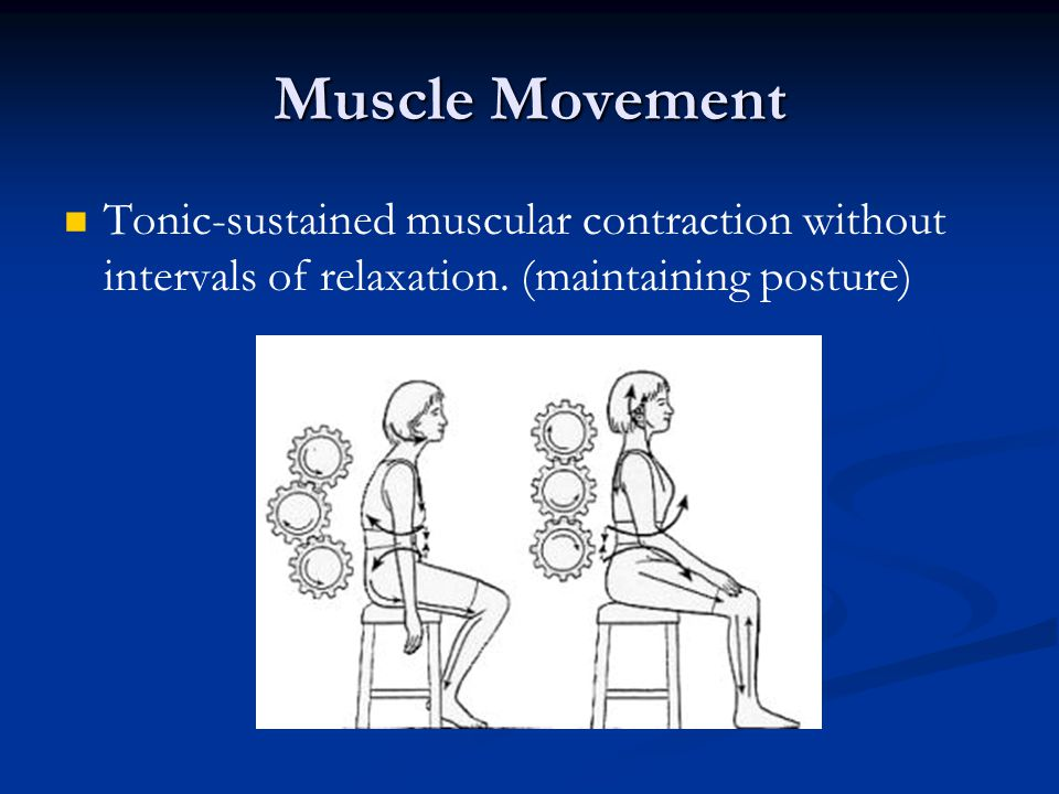Muscle Movement Tonic-sustained muscular contraction without intervals of relaxation.