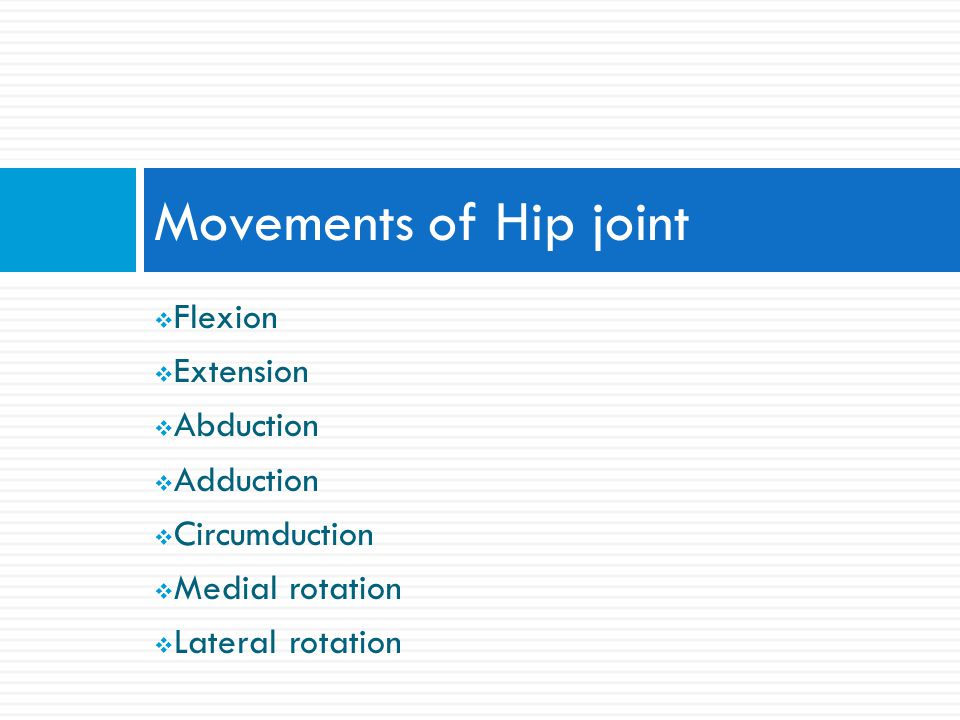 Movements of Hip joint Flexion Extension Abduction Adduction