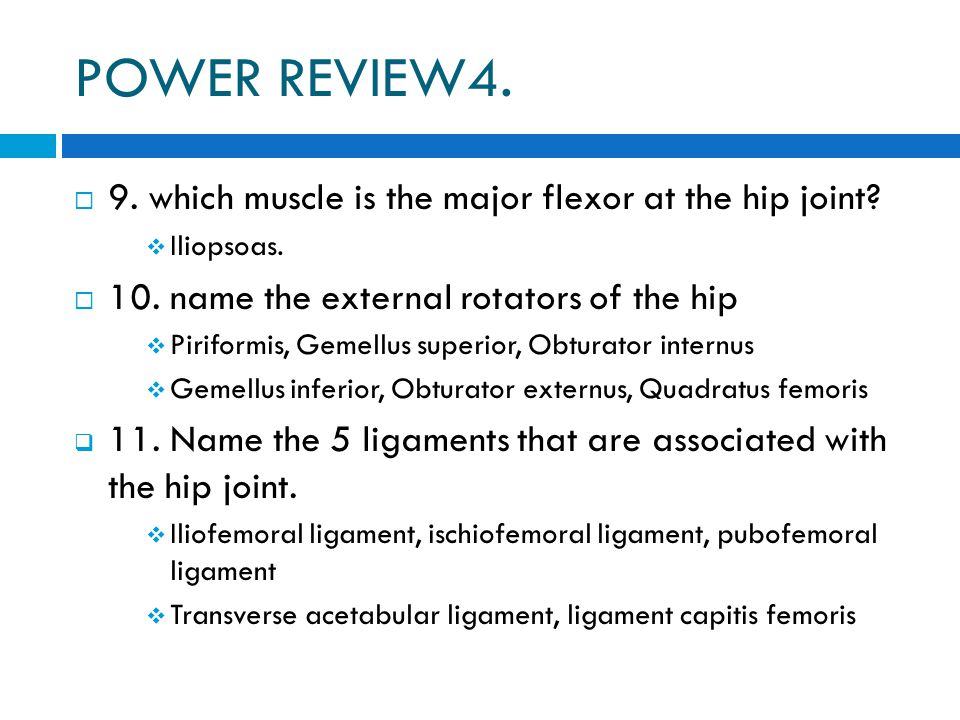 POWER REVIEW4. 9. which muscle is the major flexor at the hip joint
