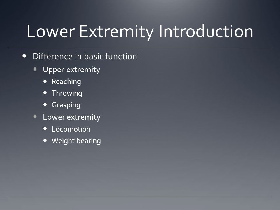 Lower Extremity Introduction