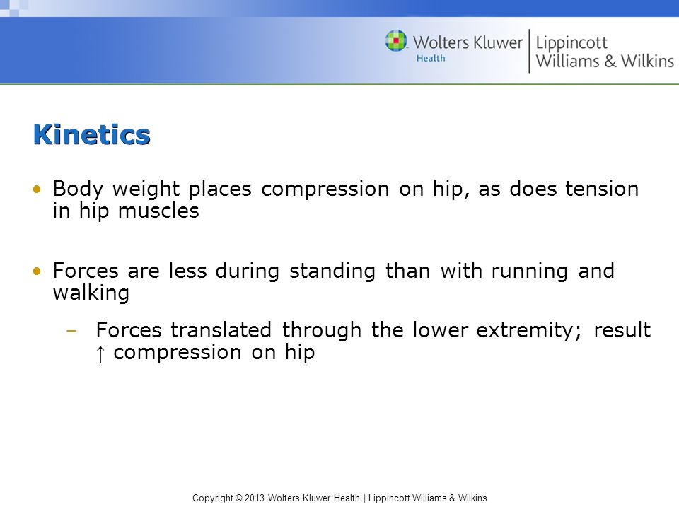 Kinetics Body weight places compression on hip, as does tension in hip muscles. Forces are less during standing than with running and walking.