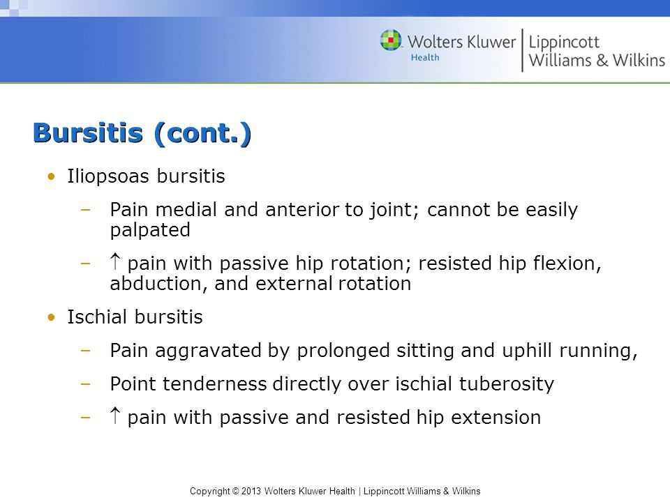 Bursitis (cont.) Iliopsoas bursitis