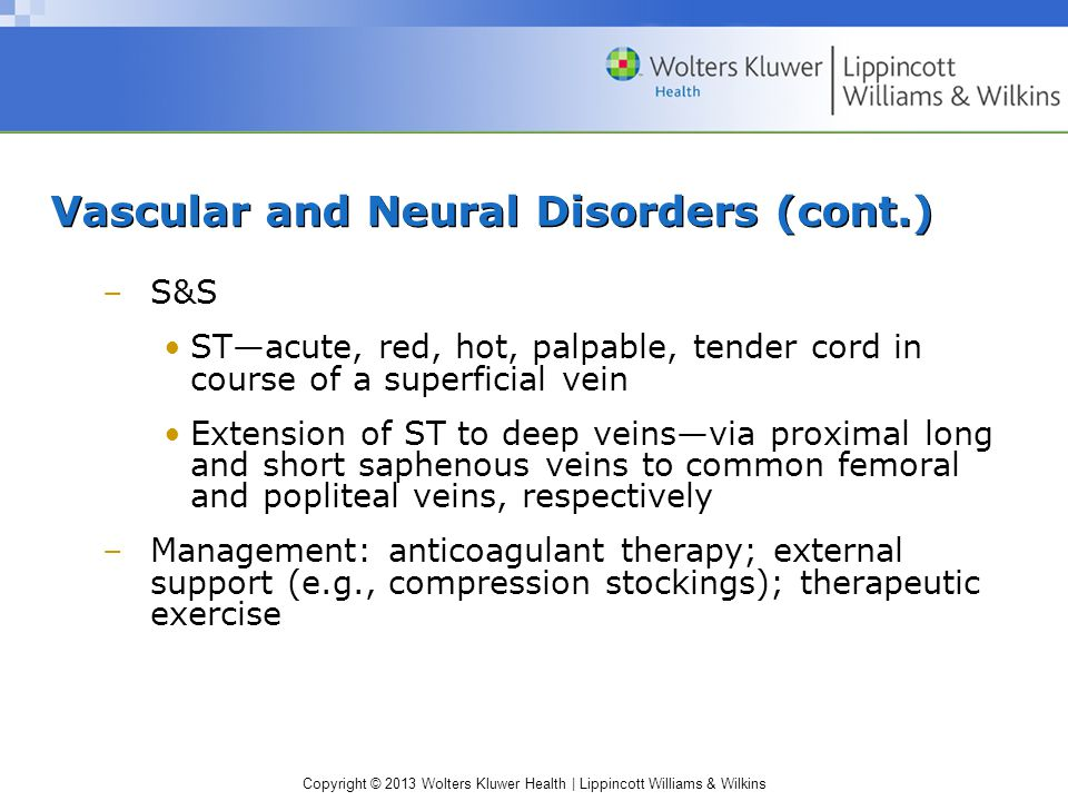 Vascular and Neural Disorders (cont.)
