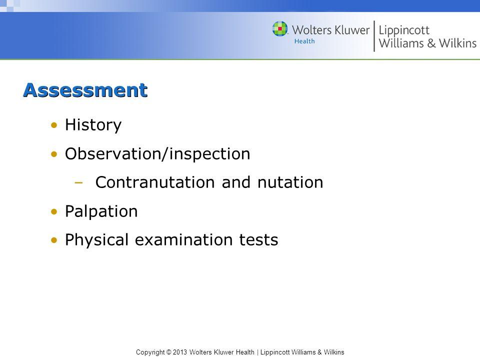 Assessment History Observation/inspection Contranutation and nutation