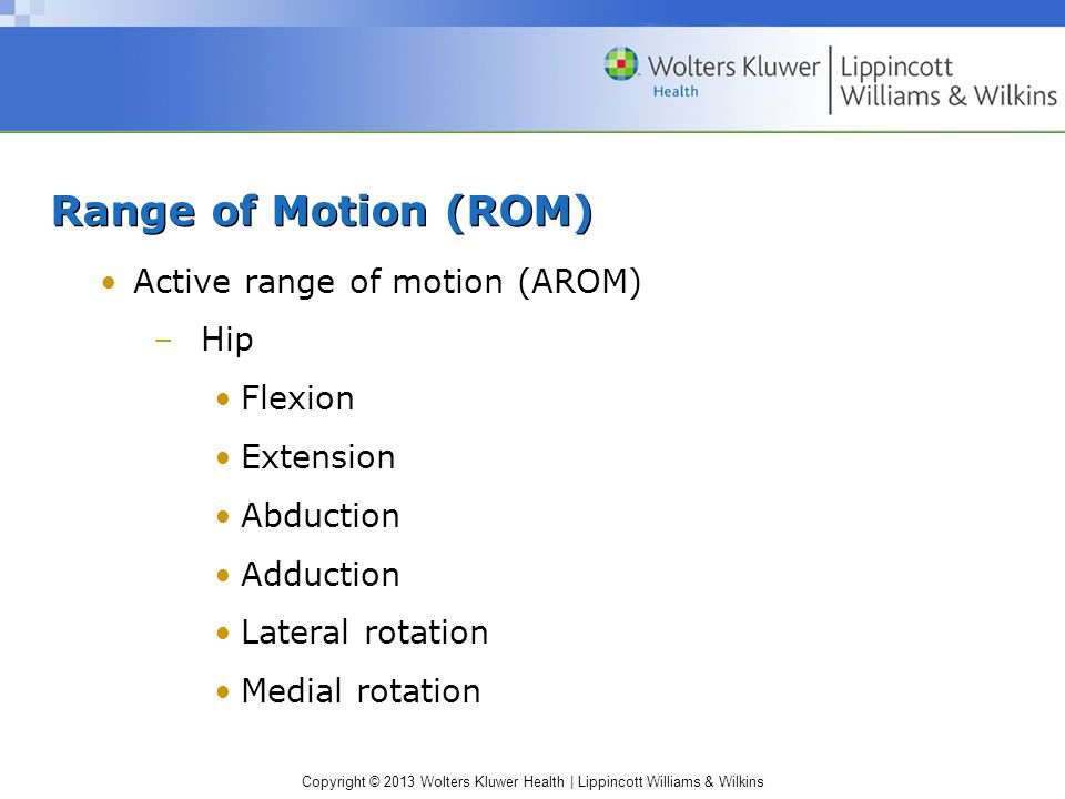 Range of Motion (ROM) Active range of motion (AROM) Hip Flexion