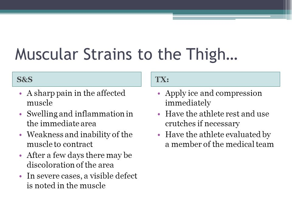 Muscular Strains to the Thigh…