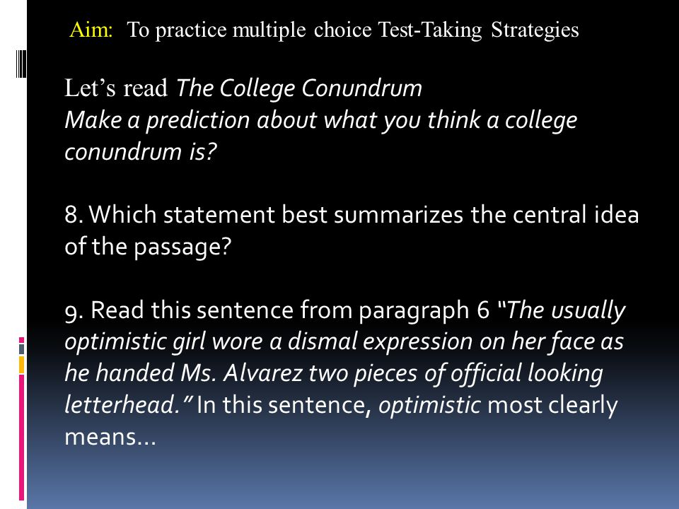 Let's read The College Conundrum