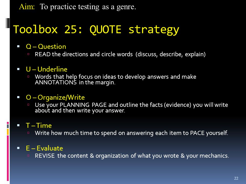 Toolbox 25: QUOTE strategy