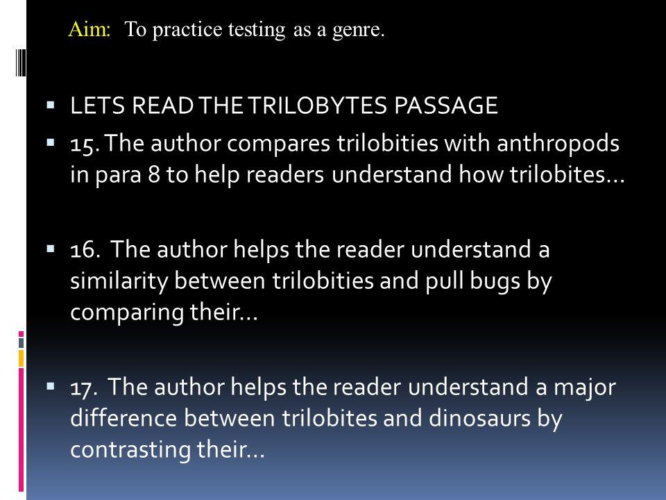 LETS READ THE TRILOBYTES PASSAGE