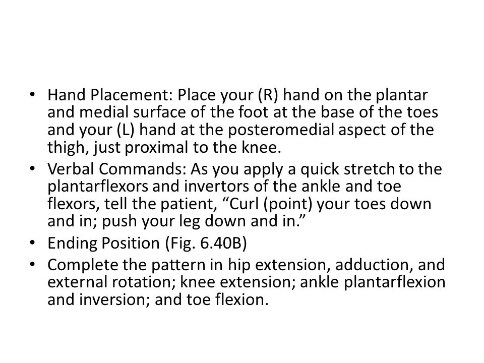 Hand Placement: Place your (R) hand on the plantar and medial surface of the foot at the base of the toes and your (L) hand at the posteromedial aspect of the thigh, just proximal to the knee.