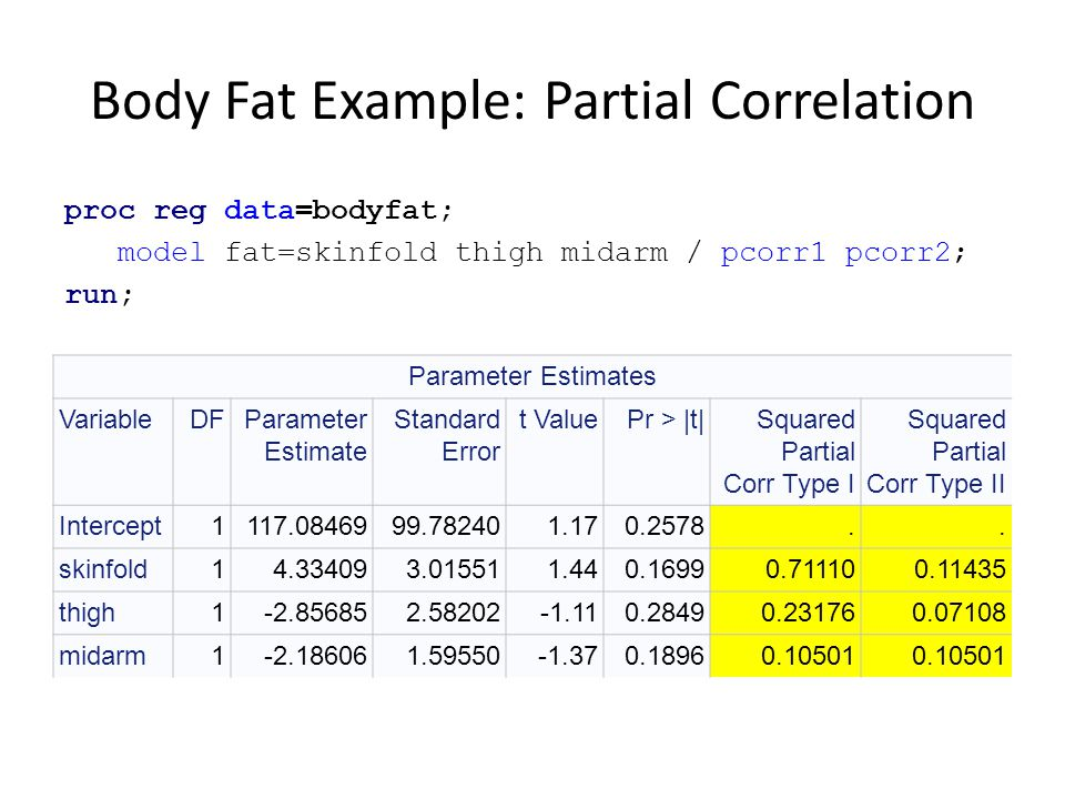 Body Fat Example: Partial Correlation